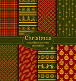 Christmas seamless patterns. Vector set. Merry Christmas and Happy New Year! Set of luxury seamless backgrounds with traditional holiday symbols: christmas tree stock illustration