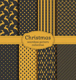 Christmas seamless patterns. Vector set. Merry Christmas and Happy New Year! Set of luxury holiday backgrounds. Collection of seamless patterns with gray and Royalty Free Stock Photos