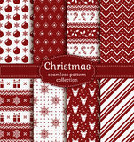 Christmas seamless patterns. Vector set. Merry Christmas and Happy New Year! Set of red and white seamless backgrounds with holiday symbols: candy cane, deer Royalty Free Stock Photo