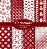 Christmas seamless patterns. Vector set. Merry Christmas and Happy New Year! Red and white seamless backgrounds with traditional holiday symbols: christmas ball Stock Photography
