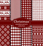Christmas seamless patterns. Vector set. Merry Christmas and Happy New Year! Set of red and white seamless backgrounds for winter or holiday design. Warm Stock Images