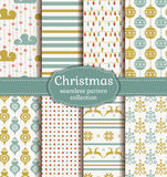 Christmas seamless patterns. Vector set. Royalty Free Stock Image