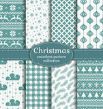 Christmas seamless patterns. Vector set. Stock Image