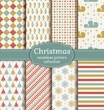Christmas seamless patterns. Vector set. Merry Christmas and Happy New Year! Set of seamless retro backgrounds with traditional symbols: christmas tree, garland Royalty Free Stock Photos