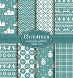 Christmas seamless patterns. Vector set. Merry Christmas and Happy New Year! Set of retro seamless backgrounds with traditional winter holiday symbols Royalty Free Stock Images