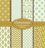Christmas seamless patterns. Vector set. Merry Christmas and Happy New Year! Set of vintage seamless backgrounds with winter holiday symbols: christmas ball Stock Photo