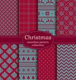 Christmas seamless patterns. Vector set. Stock Photos