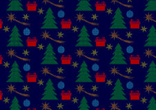 Christmas seamless polka dots pattern with tree, christmas comets, stars and gifts Stock Photo
