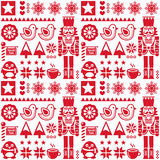 Christmas seamless red pattern with nutcracker - folk art style Stock Image