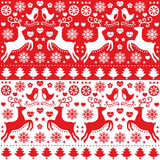 Christmas seamless red pattern with reindeer - folk style Stock Images
