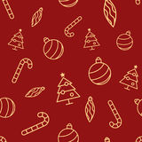 Christmas seamless red pattern with simple yellow icons. Ornament ball, ornament icicle, xmas tree and candy cane. Stock Images