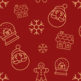 Christmas seamless red pattern with simple yellow icons. Santa head, ginger man, glass snowball, snowflake and gingerbread house. Stock Photo