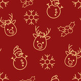 Christmas seamless red pattern with simple yellow icons. Snowman, snowflake, deer and holly berry. Royalty Free Stock Photos