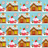 Christmas seamless Santa Claus and cake Royalty Free Stock Images