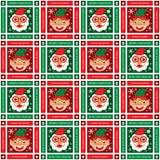 Christmas seamless Santa Claus and elf stock illustration