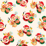 Christmas seamless Santa Claus and Friends Royalty Free Stock Photography