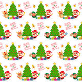 Christmas Seamless Santa Claus and Friends Royalty Free Stock Image