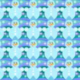 Christmas seamless with snowmen , balls and snowflakes. Christmas seamless pattern. Snowman and snowflakes on a blue background Stock Photography