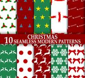 Christmas. 10 Seamless stylish modern patterns. Christmas. 10 Seamless stylish modern patterns illustration Stock Photos