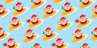 Christmas seamless surfing Santa Claus Stock Photo