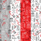 Christmas seamless texture with the Christmas objects made in the hand-painted style on the red-grey background. Christmas seamless texture with the Christmas stock illustration