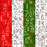 Christmas seamless texture with the Christmas objects made in the hand-painted style on the red-grey background. Christmas seamless texture with the Christmas vector illustration