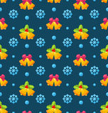 Christmas Seamless Texture with Jingle Bells and. Illustration Christmas Seamless Texture with Jingle Bells and Snowflakes - Vector Stock Photography