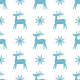 Christmas seamless texture with reindeer and snowflakes. vector illustration
