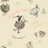 Christmas seamless texture with sheep. Christmas seamless texture with funny sheep beige stock illustration