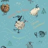 Christmas seamless texture with sheep. Christmas seamless texture with funny sheep blue vector illustration