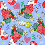 Christmas seamless theme, Vector Santa and motorbike, handmade illustration, pattern wrapping paper, Winter cute picture Stock Images