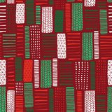 Christmas Seamless vector abstract hand drawn background. Vertical rectangle doodle shapes seamless pattern. Green red white bloc. Ks. Modern mosaic art royalty free illustration