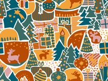 Christmas seamless vector background. Modern holiday pattern in teal, green, gold, pink. Reindeer, elk, Christmas ornaments, gift royalty free illustration