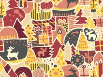 Christmas seamless vector background. Modern holiday pattern for women and girls in pink, yellow, red, gray, beige. Reindeer, elk, vector illustration