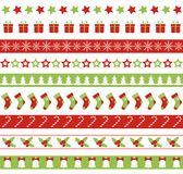 Christmas seamless vector borders. Endless ornament. For washi tapes, wrapping paper, greeting cards design Stock Photo