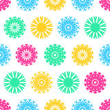 Christmas seamless vector pattern from colorful snowflakes.  Stock Images