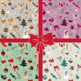 Christmas seamless vector pattern. Christmas seamless hand drawn pattern in 4 color variants. Vector illustration in eps8 format Royalty Free Stock Photo