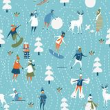 Christmas seamless vector pattern. Holiday template for wallpaper and wrapping paper in hand drawing cartoon modern style. Stock Photo