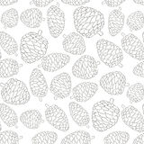 Christmas seamless vector pattern with pine cones.  Stock Photography