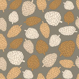 Christmas seamless vector pattern with pine cones. Hand drawn in Stock Image