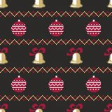 Christmas Seamless Vector Pattern. Pixelated Christmas Colorful Seamless Vector Pattern Background Stock Photos