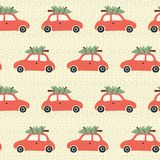 Christmas seamless Vector pattern with red car and christmas tree on the roof. Vintage holiday background with retro cars and royalty free illustration