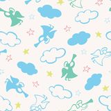 Christmas seamless vector pattern with silhouettes of angels, trumpets, stars and clouds. Surface pattern design for royalty free illustration