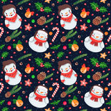 Christmas seamless vector pattern with snowmen and snow woman Royalty Free Stock Image