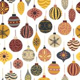 Christmas seamless vector pattern with vintage holiday ornaments. Repeated retro Christmas texture. Vector print for fabric, gift stock illustration