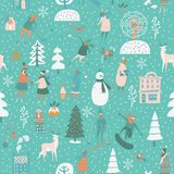 Christmas seamless vector pattern with winter games. Green background Stock Image