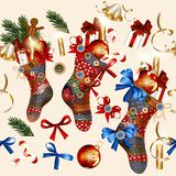 Christmas seamless wallpaper pattern with socks, baubles, bells Royalty Free Stock Images