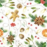 Christmas seamless watercolor pattern. Holiday New Year bright seamless pattern with christmas gingerbread, anise stars, fir-tree branches, cones, orange, and Stock Images