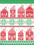 Christmas seamless winter pattern including Swedish style houses, decorative ornaments, snow, snowflakes  in cross stitch style in Royalty Free Stock Images