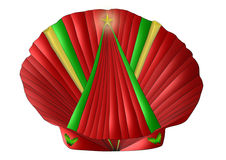 Christmas Seashell. A scallop seashell decorated for Christmas in reds, greens, and gold Royalty Free Stock Photography
